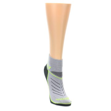 Image of Gray Lime Vibe Women's Ankle Athletic Socks (side-1-front-03)