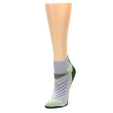 Image of Gray Lime Vibe Women's Ankle Athletic Socks (side-2-front-08)