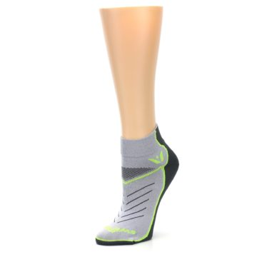 Image of Gray Lime Vibe Women's Ankle Athletic Socks (side-2-09)