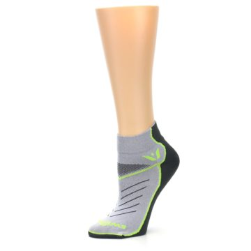 Image of Gray Lime Vibe Women's Ankle Athletic Socks (side-2-10)
