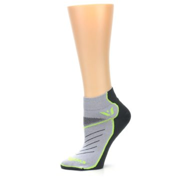 Image of Gray Lime Vibe Women's Ankle Athletic Socks (side-2-11)