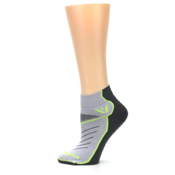 Image of Gray Lime Vibe Women's Ankle Athletic Socks (side-2-12)