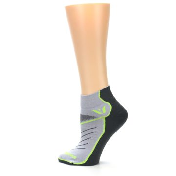 Image of Gray Lime Vibe Women's Ankle Athletic Socks (side-2-13)