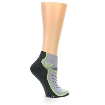 Image of Gray Lime Vibe Women's Ankle Athletic Socks (side-1-24)