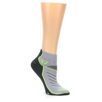 Image of Gray Lime Vibe Women's Ankle Athletic Socks (side-1-26)