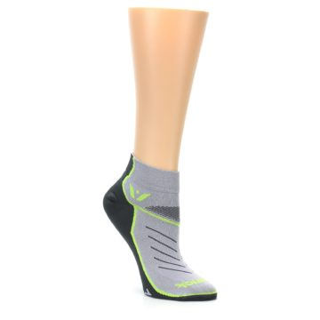 Image of Gray Lime Vibe Women's Ankle Athletic Socks (side-1-27)