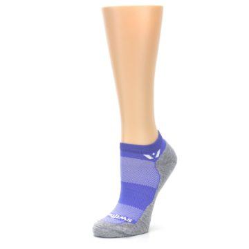 Image of Gray Purple Maxus Women's No-Show Athletic Socks (side-2-09)