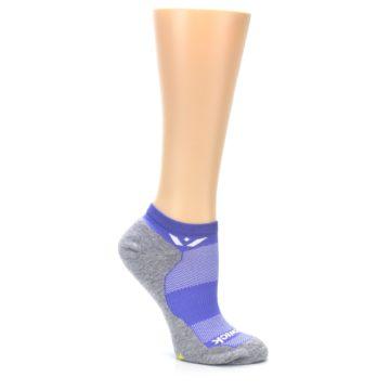 Image of Gray Purple Maxus Women's No-Show Athletic Socks (side-1-26)