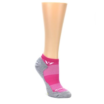 MEDIUM-Gray-Pink-Maxus-Womens-No-Show-Athletic-Socks-Swiftwick