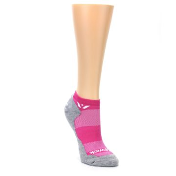 Image of Gray Pink Maxus Women's No-Show Athletic Socks (side-1-front-02)