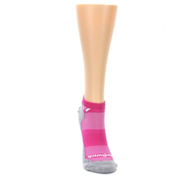 Image of Gray Pink Maxus Women's No-Show Athletic Socks (front-04)