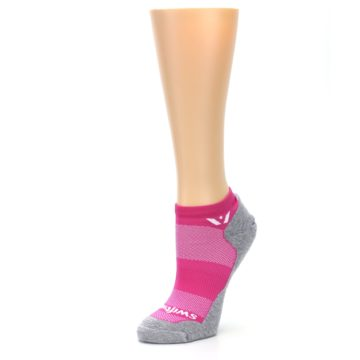 Image of Gray Pink Maxus Women's No-Show Athletic Socks (side-2-09)