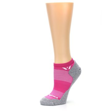 Image of Gray Pink Maxus Women's No-Show Athletic Socks (side-2-10)