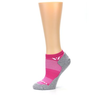 Image of Gray Pink Maxus Women's No-Show Athletic Socks (side-2-11)