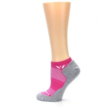Image of Gray Pink Maxus Women's No-Show Athletic Socks (side-2-13)