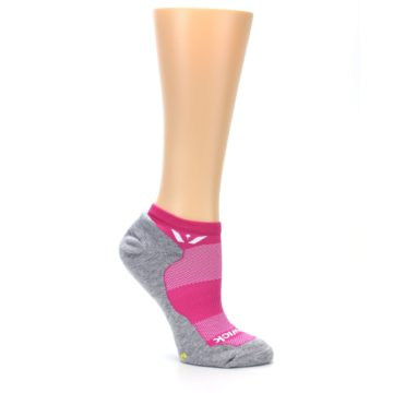 Image of Gray Pink Maxus Women's No-Show Athletic Socks (side-1-26)