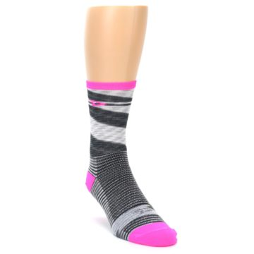 Image of Gray Pink Space-Dyed Stripe Men's Crew Athletic Socks (side-1-front-02)