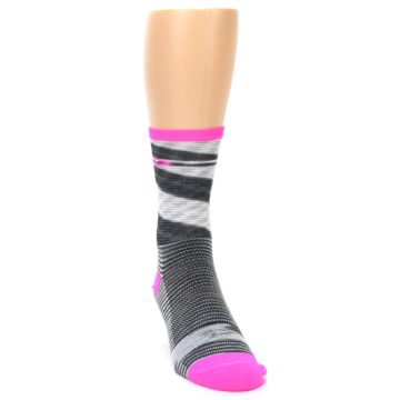 Image of Gray Pink Space-Dyed Stripe Men's Crew Athletic Socks (side-1-front-03)