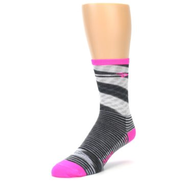Image of Gray Pink Space-Dyed Stripe Men's Crew Athletic Socks (side-2-front-08)