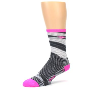 Image of Gray Pink Space-Dyed Stripe Men's Crew Athletic Socks (side-2-09)