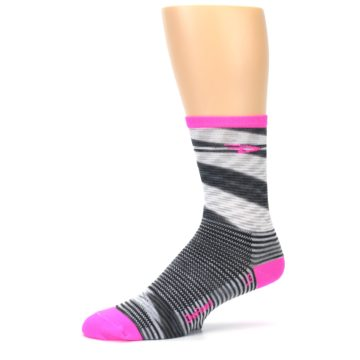 Image of Gray Pink Space-Dyed Stripe Men's Crew Athletic Socks (side-2-10)