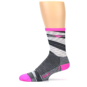Image of Gray Pink Space-Dyed Stripe Men's Crew Athletic Socks (side-2-11)