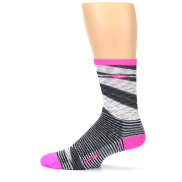 Image of Gray Pink Space-Dyed Stripe Men's Crew Athletic Socks (side-2-12)