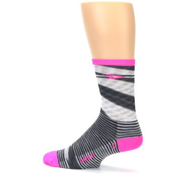 Image of Gray Pink Space-Dyed Stripe Men's Crew Athletic Socks (side-2-13)