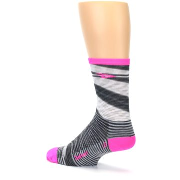 Image of Gray Pink Space-Dyed Stripe Men's Crew Athletic Socks (side-2-back-14)
