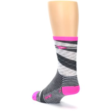 Image of Gray Pink Space-Dyed Stripe Men's Crew Athletic Socks (side-2-back-15)