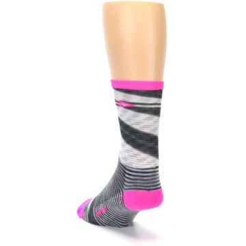 Image of Gray Pink Space-Dyed Stripe Men's Crew Athletic Socks (side-2-back-16)