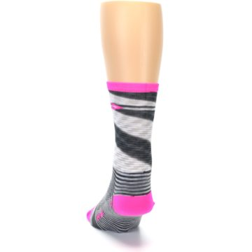 Image of Gray Pink Space-Dyed Stripe Men's Crew Athletic Socks (back-17)