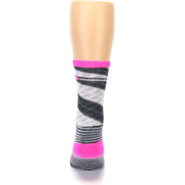 Image of Gray Pink Space-Dyed Stripe Men's Crew Athletic Socks (back-18)