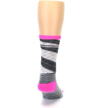 Image of Gray Pink Space-Dyed Stripe Men's Crew Athletic Socks (back-19)