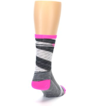 Image of Gray Pink Space-Dyed Stripe Men's Crew Athletic Socks (side-1-back-20)