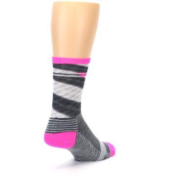 Image of Gray Pink Space-Dyed Stripe Men's Crew Athletic Socks (side-1-back-21)