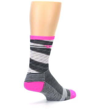 Image of Gray Pink Space-Dyed Stripe Men's Crew Athletic Socks (side-1-back-22)