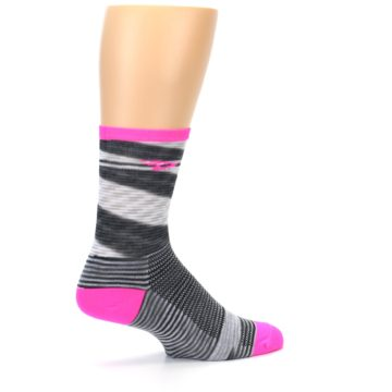 Image of Gray Pink Space-Dyed Stripe Men's Crew Athletic Socks (side-1-23)
