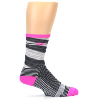 Image of Gray Pink Space-Dyed Stripe Men's Crew Athletic Socks (side-1-24)