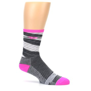 Image of Gray Pink Space-Dyed Stripe Men's Crew Athletic Socks (side-1-25)