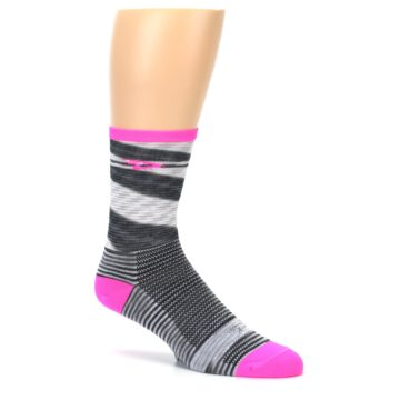 Image of Gray Pink Space-Dyed Stripe Men's Crew Athletic Socks (side-1-26)