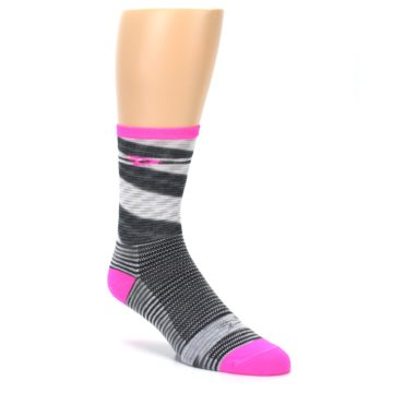 Image of Gray Pink Space-Dyed Stripe Men's Crew Athletic Socks (side-1-27)