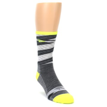 Image of Gray Neon Yellow Space-Dyed Stripe Men's Crew Athletic Socks (side-1-front-02)