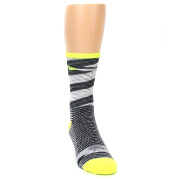 Image of Gray Neon Yellow Space-Dyed Stripe Men's Crew Athletic Socks (side-1-front-03)