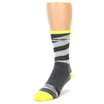 Image of Gray Neon Yellow Space-Dyed Stripe Men's Crew Athletic Socks (side-2-front-07)