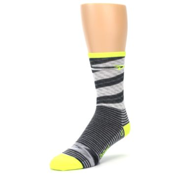 Image of Gray Neon Yellow Space-Dyed Stripe Men's Crew Athletic Socks (side-2-front-08)