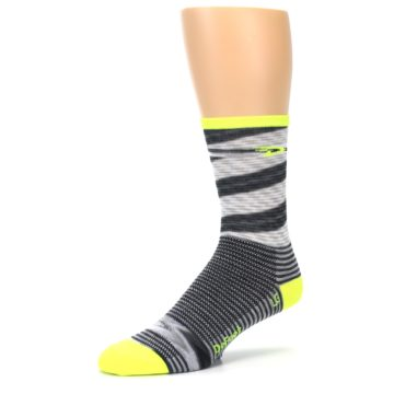 Image of Gray Neon Yellow Space-Dyed Stripe Men's Crew Athletic Socks (side-2-09)