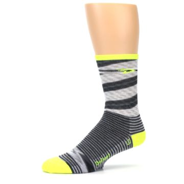 Image of Gray Neon Yellow Space-Dyed Stripe Men's Crew Athletic Socks (side-2-10)