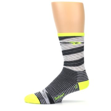 Image of Gray Neon Yellow Space-Dyed Stripe Men's Crew Athletic Socks (side-2-11)