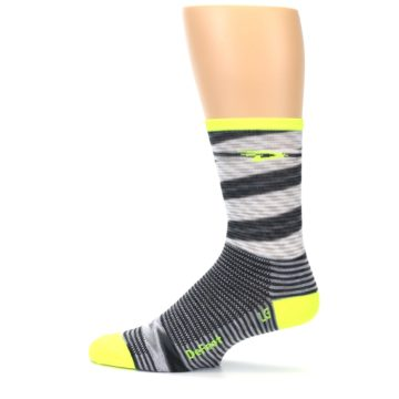 Image of Gray Neon Yellow Space-Dyed Stripe Men's Crew Athletic Socks (side-2-12)